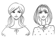 Fashionable girls. Drawn by hand Royalty Free Stock Image
