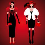 Fashionable girls on the evening of luxury glamor clothes. Set of cute fashionable girls on the evening of luxury glamor clothes. The stylish little black dress stock illustration