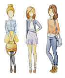 Fashionable girls without a Face set Royalty Free Stock Image