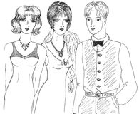 Fashionable girls and man, sketch Royalty Free Stock Photo
