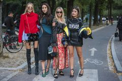 Fashionable girls at Milano Fashion Week Stock Photo