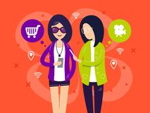Fashionable girls with smartphones. Girlfriends talk about movies and shopping . Vector illustration Stock Image