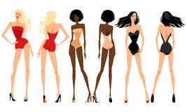 Fashionable girls in swimsuits. Set of illustrations of fashionable girls in swimsuits, vector Stock Image