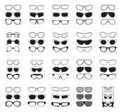 Fashionable glasses simple black  icons set. 25 fashionable glasses simple  icons set Stock Photo