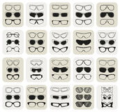 25 fashionable glasses simple  icons set Stock Photos