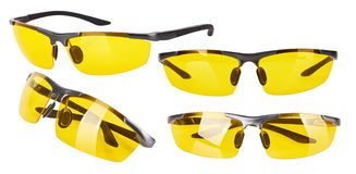 Fashionable glasses with yellow lenses. stock photos