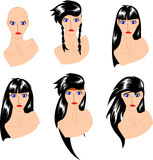 Fashionable hairstyles Stock Photography