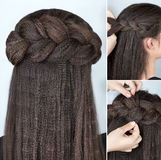 Fashionable half-up braid hairstyle tutorial Royalty Free Stock Image