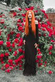 Fashionable halloween clothes. Young gothic girl with red lips in black dress on summer background. Redhead pale vampire on. Background of roses bush. Stylish stock photos