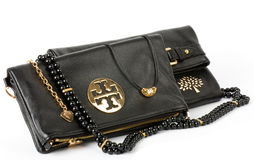 Fashionable handbag and beads Royalty Free Stock Images