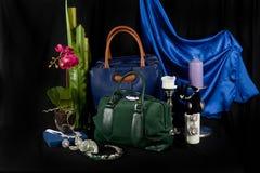 Fashionable handbag composition Royalty Free Stock Photos