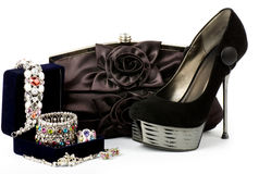 Fashionable handbag and shoes Stock Photo