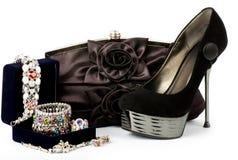 Fashionable handbag and shoes Stock Photo