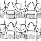 Fashionable handbags. Black and white seamless pattern of bags for coloring book. Stock Images