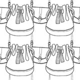 Fashionable handbags. Black and white seamless pattern of bags for coloring book. Royalty Free Stock Images