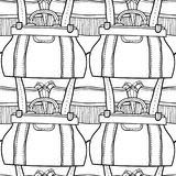 Fashionable handbags. Black and white seamless pattern of bags for coloring book. Royalty Free Stock Photos