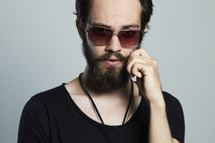 Fashionable handsome man. Brutal bearded Sexy boy Stock Photo