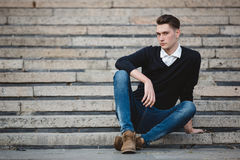Fashionable handsome man model posing Stock Images