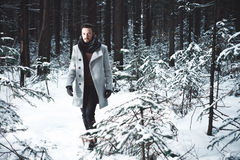 Fashionable handsome man in winter coat Stock Photography