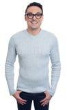 Fashionable handsome smiling man wearing glasses. Isolated on white background Stock Photo