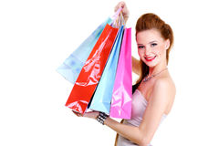 Fashionable happy  girl with purchases Stock Photos