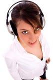 fashionable happy listening music woman Στοκ Φωτογραφία