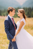 Fashionable and happy wedding couple on sunny field with forest background Royalty Free Stock Photo