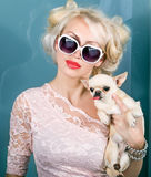 Fashionable happy woman with cute cihuahua Stock Photography