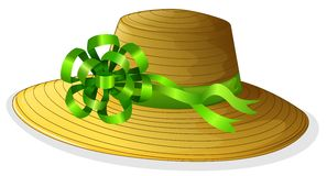 A fashionable hat with a green ribbon Stock Photo