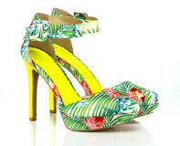 Fashionable High Heels pump in floral design Royalty Free Stock Photography