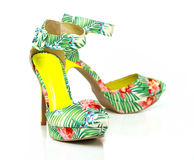 Fashionable High Heels pump in floral design Stock Images