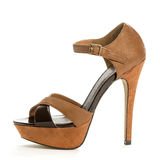Fashionable High Heels Shoe. High heels shoe in brown suede Royalty Free Stock Images