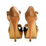 Fashionable High Heels Shoe. High heels shoe in brown suede Royalty Free Stock Image