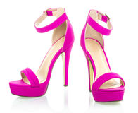 Fashionable High Heels Shoe in pink, XXXL image. High heels shoe in pink, with platform sole and ankle strap, XXL image Stock Photography