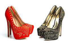 Fashionable high heels shoes in rivets and rhinestones Royalty Free Stock Photography