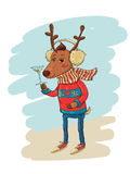 Fashionable Hipster Deer Royalty Free Stock Image