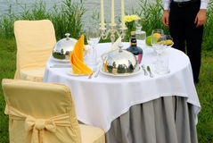 The fashionable holiday table outdoors Stock Images