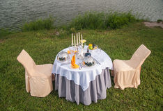 The fashionable holiday table outdoors Royalty Free Stock Photography