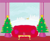 Fashionable interior of living room with Christmas tree Royalty Free Stock Photo