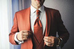 Fashionable jacket. Beautiful jacket with a tie of the groom Royalty Free Stock Photo