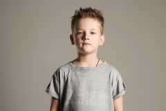 Fashionable kid. handsome little boy Stock Photos