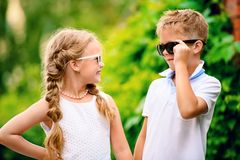 Fashionable kids in summer royalty free stock image