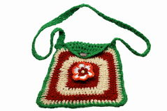 Fashionable knitted handbag. It is isolated on a white background Royalty Free Stock Photos