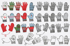 Fashionable knitted mittens,gloves. Doodle hand Royalty Free Stock Photography