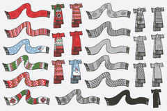 Fashionable knitted scarf. Doodle hand sketch Stock Images