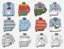 Fashionable knitted Sweaters. Doodle hand sketch Stock Image