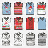 Fashionable knitted vests. Doodle hand sketch Stock Photos