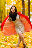 Fashionable Korean girl in autumn forest Royalty Free Stock Photography