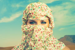 Fashionable ladies - Bedouin. Fashion portrait of beautiful lady in Bedouin scarf Stock Images