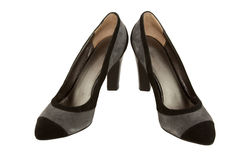 Fashionable ladies' leather shoes on a heel. Isolated stock image